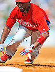 9 March 2011: Philadelphia Phillies' infielder Jimmy Rollins in action during a Spring Training game against the Detroit Tigers at Joker Marchant Stadium in Lakeland, Florida. The Phillies defeated the Tigers 5-3 in Grapefruit League play. Mandatory Credit: Ed Wolfstein Photo