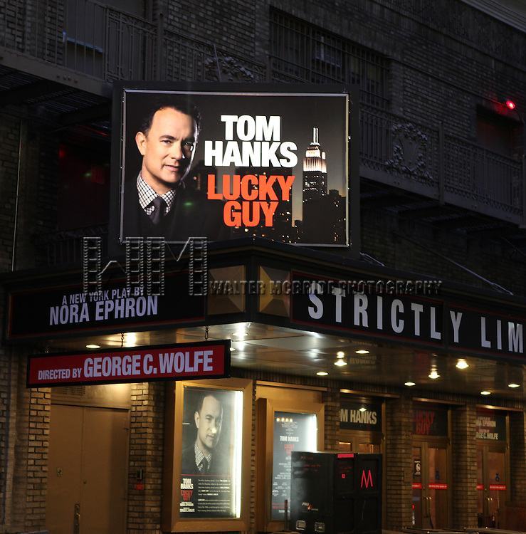Tom Hanks Theatre Marquee makeover...Nora Ephron's LUCKY GUY marks a return to her journalistic roots in a new play about the scandal- and graffiti-ridden New York of the 1980s, as told through the story of the charismatic and controversial tabloid columnist Mike McAlary (Tom Hanks in his Broadway debut).  at The Broadhurst Theatre in New York City on 1/18/2013