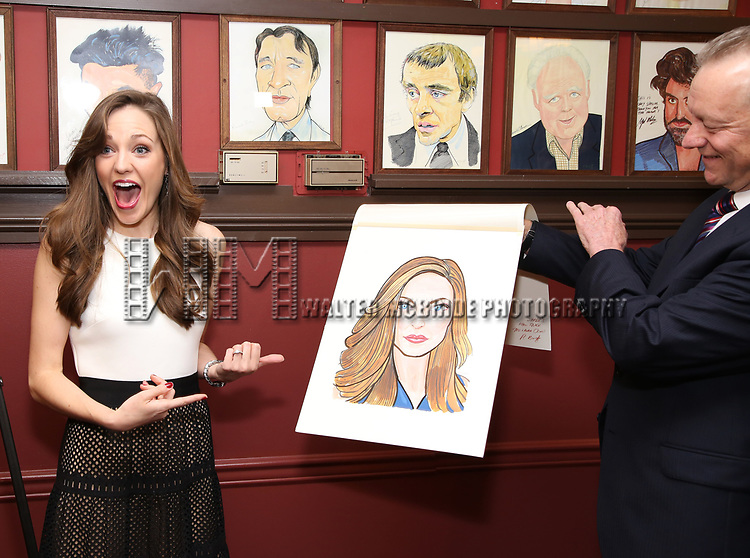 Laura Osnes and Max Klimavicius attend the Laura Osnes Sardi's Portrait Unveiling at Sardi's on May 12, 2017 in New York City.