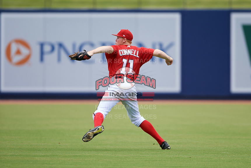 GCL Nationals center fielder Justin Connell (11) throws the ball in during the second game of a doubleheader against the GCL Mets on July 22, 2017 at The Ballpark of the Palm Beaches in Palm Beach, Florida.  GCL Mets defeated the GCL Nationals 4-1.  (Mike Janes/Four Seam Images)