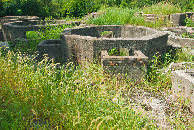 The Joliet Iron Works Historic Site is now a county Forest Preserve, Joliet, Will County, Illinois, shown here are concrete furnace remnants.