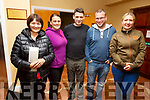 Attending the St Marys Basketball Monster bingo night in Castleisland on Tuesday. <br /> L-r, Catherine, Louise and Gary Roche (Knocknagoshel), Mikey Keeffe (Rathmore) and Agnus Roche (Knocknagoshel).