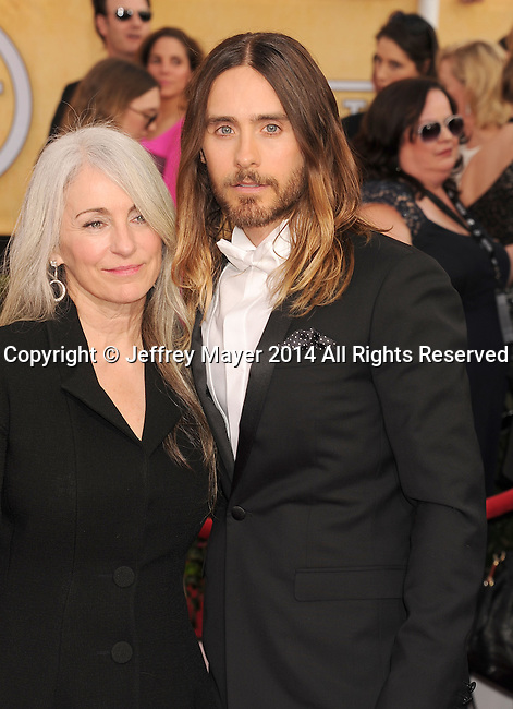 LOS ANGELES, CA- JANUARY 18: Actor Jared Leto (R) and mother Constance Leto arrive at the 20th Annual Screen Actors Guild Awards at The Shrine Auditorium on January 18, 2014 in Los Angeles, California.