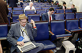 Reporters including Glenn Thrush, chief White House political correspondent for the The New York Times, left, sit in the James S. Brady Press Briefing Room of the White House after being excluded from the meeting  on February 24, 2017 in Washington, DC. CNN, the New York Times and other news organizations were blocked Friday from a White House press briefing.<br /> Credit: Olivier Douliery / Pool via CNP
