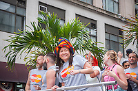 Mastercard employees and supporters in the annual Lesbian, Gay, Bisexual and Transgender Pride Parade on Fifth Avenue in New York on Sunday, June 28, 2015. The parade was particularly boisterous due to the recent Supreme Court decision on same-sex marriage. The parade is the largest gay pride parade in the world.(© Richard B. Levine)
