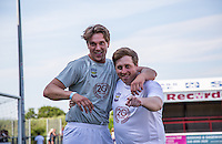 Lewis Bloor (TOWIE) (left) & Mickey Fisher (Actor) during the 'Greatest Show on Turf' Celebrity Event - Once in a Blue Moon Events at the London Borough of Barking and Dagenham Stadium, London, England on 8 May 2016. Photo by Andy Rowland.