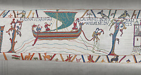 Bayeux Tapestry scene 34:  Messengers sail from England to tell Duke William of Harold's corination.
