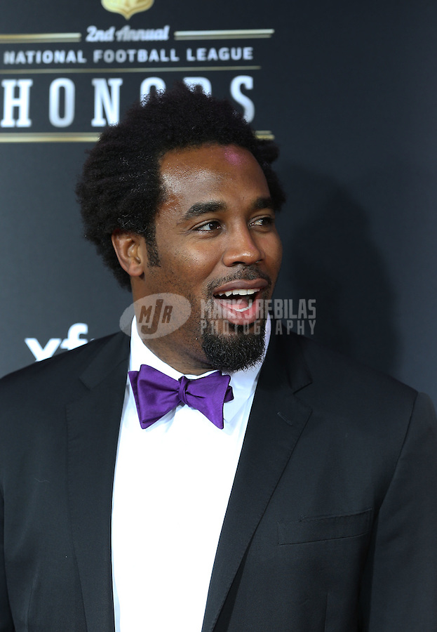 Feb. 2, 2013; New Orleans, LA, USA:  NFL player Dhani Jones on the red carpet prior to the Super Bowl XLVII NFL Honors award show at Mahalia Jackson Theater. Mandatory Credit: Mark J. Rebilas-USA TODAY Sports