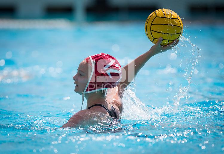 STANFORD, CA - March 23, 2019: Sarah Klass at Avery Aquatic Center. The #2 Stanford Cardinal took down the #18 Harvard Crimson 20-7.
