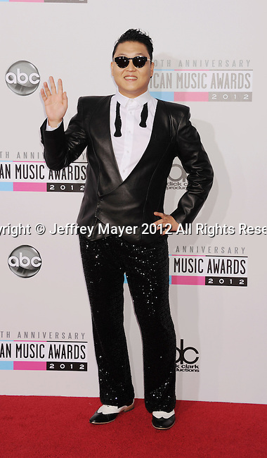 LOS ANGELES, CA - NOVEMBER 18: Psy attends the 40th Anniversary American Music Awards held at Nokia Theatre L.A. Live on November 18, 2012 in Los Angeles, California.