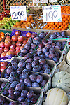 Fresh fruits in produce display at market in Montreal, Canada.