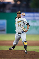 West Virginia Black Bears relief pitcher Miguel Hernandez (55) delivers a pitch during a game against the Batavia Muckdogs on June 20, 2018 at Dwyer Stadium in Batavia, New York.  West Virginia defeated Batavia 4-3.  (Mike Janes/Four Seam Images)