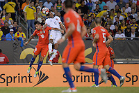 Chicago, IL - Wednesday June 22, 2016: Gonzalo Jara, Juan Cuadrado during a Copa America Centenario semifinal match between Colombia (COL) and Chile (CHI) at Soldier Field.