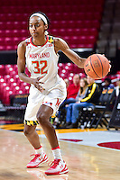 College Park, MD - NOV 16, 2016: Maryland Terrapins guard Shatori Walker-Kimbrough (32) looks to pass during game between Maryland and Maryland Eastern Shore Lady Hawks at XFINITY Center in College Park, MD. The Terps defeated the Lady Hawks 106-61. (Photo by Phil Peters/Media Images International)