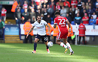 Bolton Wanderers' Filipe Morais dodges Middlesbrough's Cyrus Christie <br /> <br /> Photographer Rachel Holborn/CameraSport<br /> <br /> The EFL Sky Bet Championship - Bolton Wanderers v Middlesbrough - Saturday 9th September 2017 - Macron Stadium - Bolton<br /> <br /> World Copyright &copy; 2017 CameraSport. All rights reserved. 43 Linden Ave. Countesthorpe. Leicester. England. LE8 5PG - Tel: +44 (0) 116 277 4147 - admin@camerasport.com - www.camerasport.com