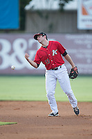 Ryan Leonards (13) of the Kannapolis Intimidators can't handle a throw at second base during the game against the Asheville Tourists at Intimidators Stadium on June 25, 2015 in Kannapolis, North Carolina.  The Intimidators defeated the Tourists 9-8.  (Brian Westerholt/Four Seam Images)