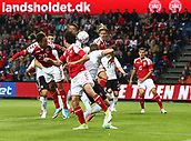 June 6th 2017, Brondby Stadium, in Brondby, Copenhagen, Denmark;  Yussuf Yurary Poulsen (L) from Denmark with a header during the international  match between Denmark and Germany at the Brondby Stadium