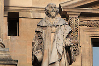 Statue of Mathieu Mole,1584-1656, statesman, by Charles-Francois Nanteuil-Leboeuf, at the Colbert Wing, in the Cour Napoleon at the Musee du Louvre, Paris, France. A series of 86 statues of famous men were placed in this courtyard 1853-57 under the architects Louis Visconti and Hector Lefuel. Picture by Manuel Cohen