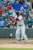 Yhoxian Medina (11) of the Carolina Mudcats at bat against the Winston-Salem Dash at BB&T Ballpark on June 6, 2014 in Winston-Salem, North Carolina.  The Mudcats defeated the Dash 3-1.  (Brian Westerholt/Four Seam Images)