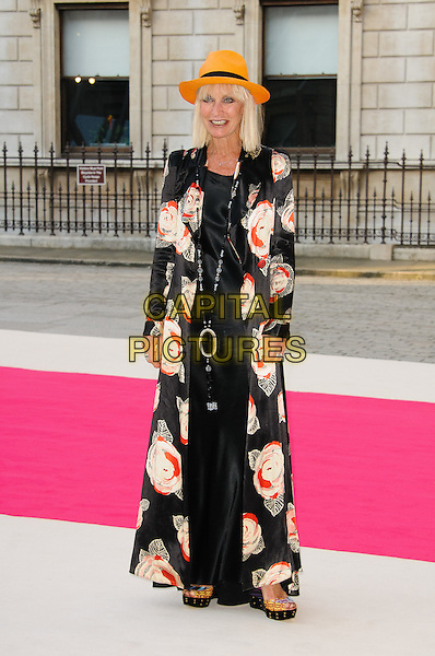 Virginia Bates.Arrivals at the Royal Academy Summer Exhibition 2012 - preview party held at the Royal Academy of Arts, London, England..May 30th, 2012.full length white dress red black print orange hat jacket.CAP/CJ.©Chris Joseph/Capital Pictures.