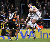 High Wycombe, England. Rob Miller of Sale Sharks wins a high ball during the Aviva Premiership match between London Wasps and Sale Sharks at Adams Park on December 23. 2012 in High Wycombe, England.