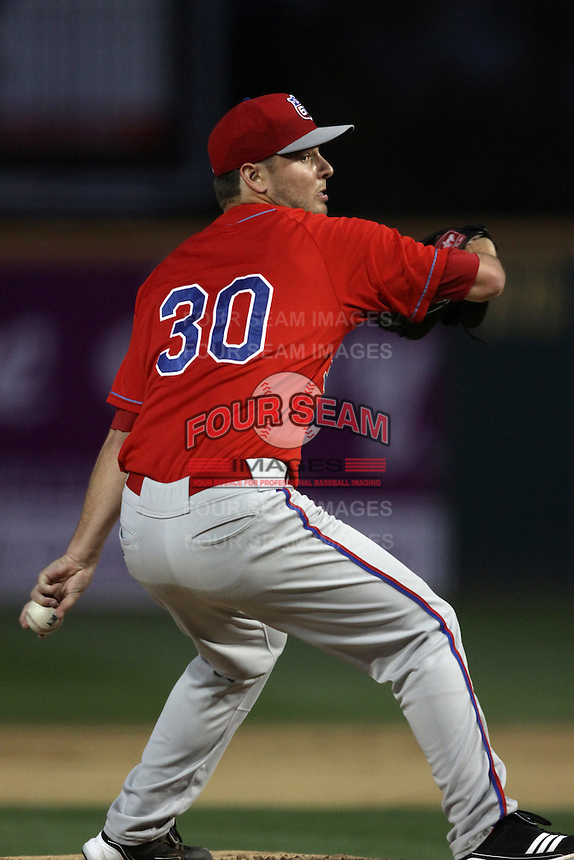 Nick Maronde #30 of the Inland Empire 66'ers pitches against the Rancho Cucamonga Quakes at The Epicenter on April 7, 2012 in Rancho Cucamonga,California. Rancho Cucamonga defeated Inland Empire 5-4.(Larry Goren/Four Seam Images)