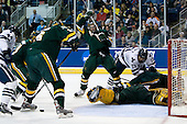 Jeff Anderson (Yale - 44), Jack Downing (Vermont - 21), Kyle Medvec (Vermont - 6), Matt Marshall (Vermont - 17), Denny Kearney (Yale - 19), Vermont?, Rob Madore (Vermont - 29) - The University of Vermont Catamounts defeated the Yale University Bulldogs 4-1 in their NCAA East Regional Semi-Final match on Friday, March 27, 2009, at the Bridgeport Arena at Harbor Yard in Bridgeport, Connecticut.