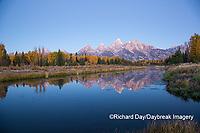 67545-09419 Sunrise at Schwabacher Landing in fall, Grand Teton National Park, WY
