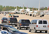 A motorcade carrying Mexican President Felipe Calderon leaves Andrews Air Force  Base as he arrives for the Nuclear Security Summit, at Andrews Air Force Base, Maryland, April 12, 2010.  .Credit: Kevin Dietsch / Pool via CNP