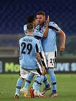 Football, Serie A: S.S. Lazio - Cagliari, Olympic stadium, Rome, July 23, 2020. <br /> Lazio's Sergej Milinkpvic-Savic (r) celebrates after scoring with his teammate Luiz Felipe Ramos (c) and Manuel Lazzari (l) during the Italian Serie A football match between Lazio and Cagliari at Rome's Olympic stadium, Rome, on July 23, 2020. <br /> UPDATE IMAGES PRESS/Isabella Bonotto