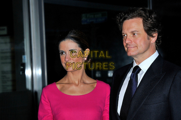 Livia Giuggioli & Colin Firth.Wool Modern private view, La Galleria, Royal Opera Arcade, London, England..September 7th, 2011.headshot portrait black suit pink married husband wife  profile .CAP/CAS.©Bob Cass/Capital Pictures.