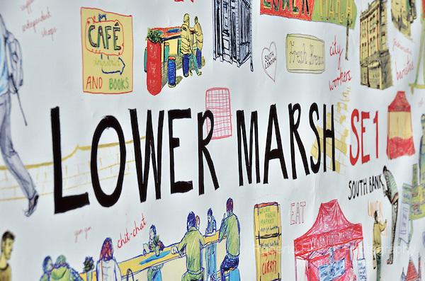 Lower Marsh SE1 street sign mural, Waterloo, London, UK.