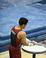 STANFORD, CA - MARCH 8, 2014: Stanford Men's Gymnastics competes against the University of California - Berkeley, Ohio State University, and Arizona State University at Burnham Pavilion on the campus of Stanford University.  Stanford won, scoring 446.450.