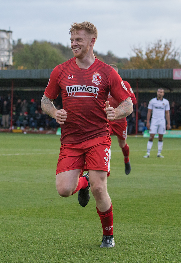Terry Kennedy of Alfreton Town celebrates his goal<br /> <br /> Photographer James Williamson/CameraSport<br /> <br /> The Emirates FA Cup First Round - Alfreton Town v Newport County - Sunday 6th November 2016 - North Street - Alfreton<br />  <br /> World Copyright &copy; 2016 CameraSport. All rights reserved. 43 Linden Ave. Countesthorpe. Leicester. England. LE8 5PG - Tel: +44 (0) 116 277 4147 - admin@camerasport.com - www.camerasport.com