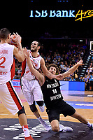 New Zealand Tall Blacks' Rob Loe and Syria's Hani Adribe in action during the FIBA World Cup Basketball Qualifier - NZ Tall Blacks v Syria at TSB Bank Arena, Wellington, New Zealand on Sunday 2 2018. <br /> Photo by Masanori Udagawa. <br /> www.photowellington.photoshelter.com