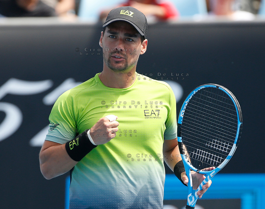 15th January 2019, Melbourne Park, Melbourne, Australia; Australian Open Tennis, day 2; Fabio Fognini of Italy reacts during a match against Jaume Munar of Spain