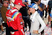 #18: Kyle Busch, Joe Gibbs Racing, Toyota Camry Skittles Red White & Blue and #42: Kyle Larson, Chip Ganassi Racing, Chevrolet Camaro Credit One Bank