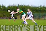 Danny Carroll of Tralee CBS is first to the ball over Aidan McGuane of St Flannan's in the Frewen Cup Final held last Wednesday in Croagh, Co. Limerick. ..