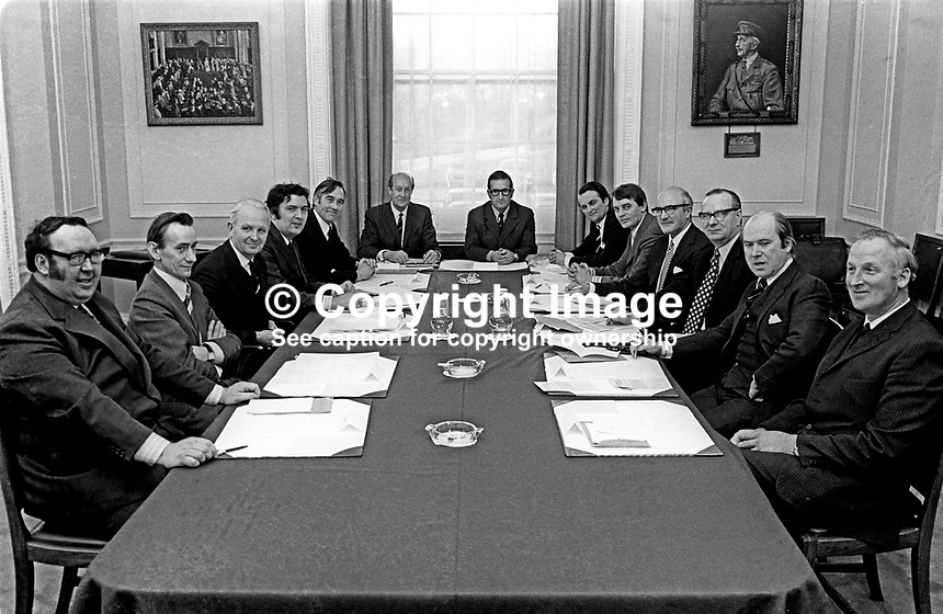 First mtg of N Ireland Executive on 21st July 1973 was also the Province&rsquo;s first power-sharing administration. L to R - Paddy Devlin, SDLP,  Oliver Napier, Alliance Party, Brian Faulkner, Ulster Unionist, John Hume, SDLP, Basil McIvor, Percy Sythes, Executive&rsquo;s Deputy Secretary, Ken Bloomfield, Executive&rsquo;s Secretary, John Baxter, Ulster Unionist, Austin Currie, SDLP, Herbert Kirk, Ulster Unionist, Gerry Fitt, SDLP, Roy Bradford, Ulster Unionist, Leslie Morell, Ulster Unionist. The picture top left is of the first mtg of the NI Parliament in City Hall, Belfast, 1921. The picture top right is Sir Henry Wilson, Chief of the Imperial General Staff, assassinated June 1922 outside his London home by2 IRA volunteers. He had retired from the army. His Who&rsquo;s Who entry at the time gave his home as Ballinalee, Co Longford, Ireland. 197307210512<br />