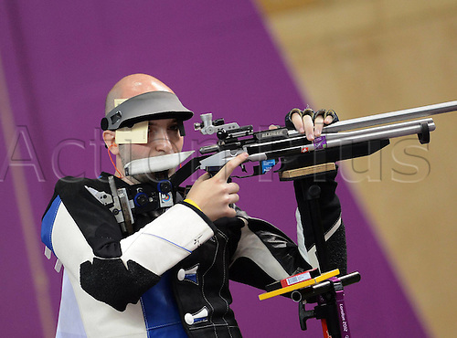 06.08.2012. London, England. Niccolo Campriani of Italy competes in the mens 50m rifle 3  Final of Shooting London 2012 Olympic Games  Campriani of Italy Won Gold Medal and Set A New Olympic Record