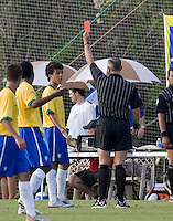 Brazils' Matheus Carvalho receives a red card and is sent off the field. 2007 Nike Friendlies, which are taking place from Dec. 6-9 at IMG Academies in Bradenton, Fla.