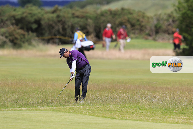 Graeme McDOWELL (NIR) plays his 2nd shot on the 17th hole during Sunday's Round  of the 144th Open Championship, St Andrews Old Course, St Andrews, Fife, Scotland. 19/07/2015.<br /> Picture Eoin Clarke, www.golffile.ie