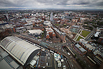 © Joel Goodman - 07973 332324 . 24 June 2013 . Orchid Suite , Beetham Tower , Manchester , UK . View across Manchester from the flat . Former triplex apartment home of Phil and Julie Neville , which is up for rent and thought to be the most expensive in Manchester . Photo credit : Joel Goodman