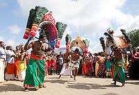 Nederland Den Helder  2016  06 26. Jaarlijkse tempelfeest bij de Hindoe tempel in Den Helder.. Vereniging Sri Varatharaja Selvavinayagar voltooide in 2003 het gebouw dat wordt gebruikt voor het bevorderen van kunst en cultuur. Een ander deel wordt gebruikt voor het praktiseren van religieuze waarden. Het hoogtepunt van de feestperiode is het voorttrekken van de wagen ( chithira theer of ratham ). Dit is een kleurrijke optocht, waarbij de godheid Ganesh in de wagen wordt voortgetrokken door gelovigen. Rituele dans. Bij enkele mannen zijn haken in de rug bevestigd. Foto Berlinda van Dam /  Hollandse Hoogte
