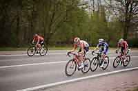the final breakaway group in the race finale consists of these (most) elite puncheurs : Tim Wellens (BEL/Lotto-Soudal), Mathieu Van Der Poel (NED/Correndon-Circus), Michael Matthews (AUS/Sunweb) & Julian ALAPHILIPPE (FRA/Deceuninck-Quick Step)<br /> <br /> 59th De Brabantse Pijl - La Flèche Brabançonne 2019 (1.HC)<br /> One day race from Leuven to Overijse (BEL/196km)<br /> <br /> ©kramon