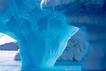 The seemingly impossible blue color of the interior of an iceberg at Cierva Cove, Antarctica