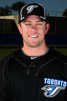 March 1, 2010:  Second Baseman Aaron Hill (2) of the Toronto Blue Jays poses for a photo during media day at Englebert Complex in Dunedin, FL.  Photo By Mike Janes/Four Seam Images