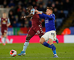 Marvelous Nakamba of Aston Villa tackled by Harvey Barnes of Leicester City during the Premier League match at the King Power Stadium, Leicester. Picture date: 9th March 2020. Picture credit should read: Darren Staples/Sportimage