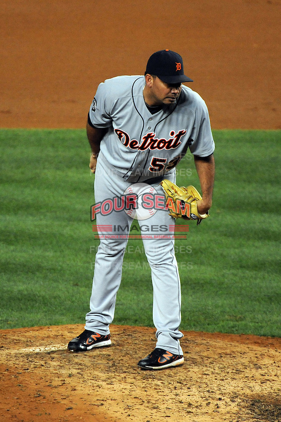 Detroit Tigers pitcher Joaquin Benoit #53 during ALDS game #5 against the New York Yankees at Yankee Stadium on October 06, 2011 in Bronx, NY.  Detroit defeated New York 3-2 to take the series 3 games to 2 games.  Tomasso DeRosa/Four Seam Images