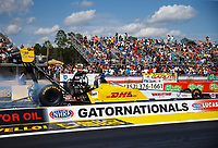 Mar 18, 2018; Gainesville, FL, USA; NHRA top fuel driver Richie Crampton during the Gatornationals at Gainesville Raceway. Mandatory Credit: Mark J. Rebilas-USA TODAY Sports
